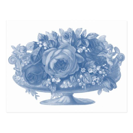 Vintage Blue Flower Arrangement Postcard
