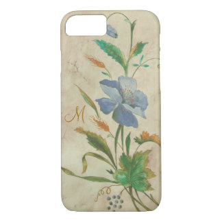 vintage blue-flower with custom initial iPhone 7 case