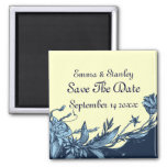 Vintage blue flowers pale ivory Save the Date Magnets