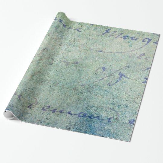 Vintage Blue French Script Parchment Paper