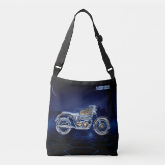 Vintage Blue Golden Sparkling Chrome Chopper Crossbody Bag