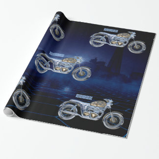 Vintage Blue Golden Sparkling Chrome Chopper Wrapping Paper