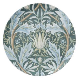 Vintage Blue Green Elegant Floral Wallpaper Plate