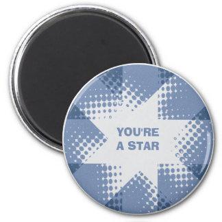 Vintage blue halftone star magnet