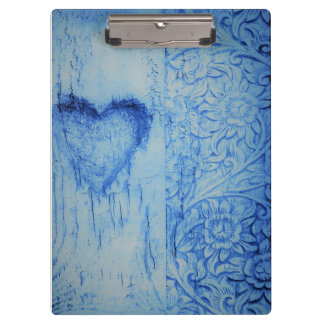 Vintage blue heart floral Clip board