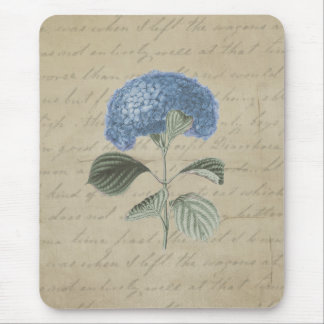 Vintage Blue Hydrangea Floral Antique Calligraphy Mouse Mat