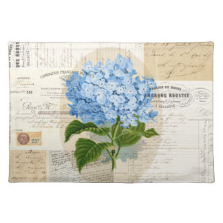 Vintage Blue Hydrangea French Ephemera Placemat