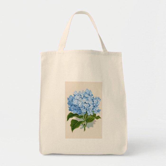 Vintage Blue Hydrangea Grocery Tote Bag