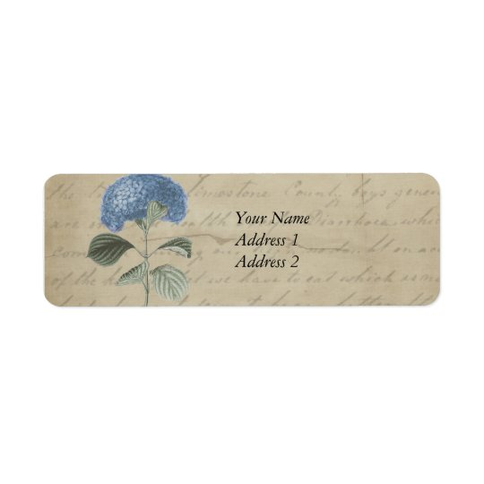 Vintage Blue Hydrangea with Antique Calligraphy