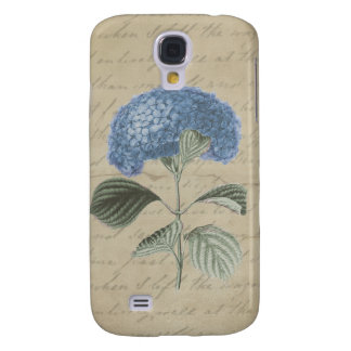 Vintage Blue Hydrangea with Antique Calligraphy Samsung Galaxy S4 Cover