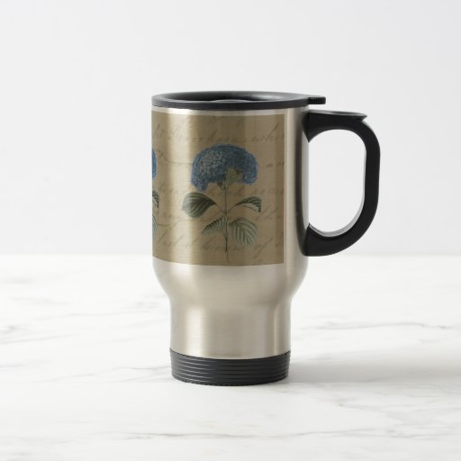 Vintage Blue Hydrangea with Antique Calligraphy Stainless Steel Travel Mug