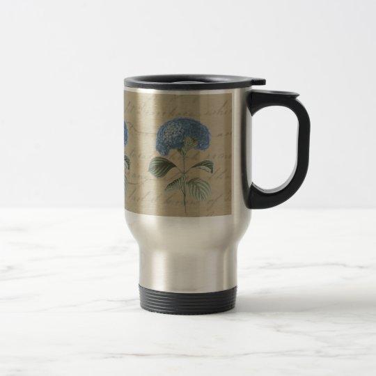 Vintage Blue Hydrangea with Antique Calligraphy Travel Mug