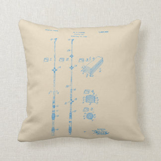 Vintage Blue Ink Fishing Rod Pillow