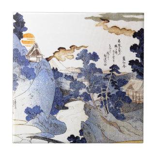 Vintage Blue Japanese Art Small Square Tile