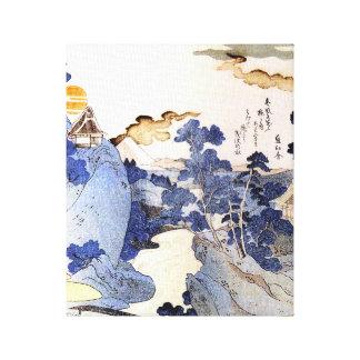 Vintage Blue Japanese Art Woodblock Ukiyo-E Canvas Print