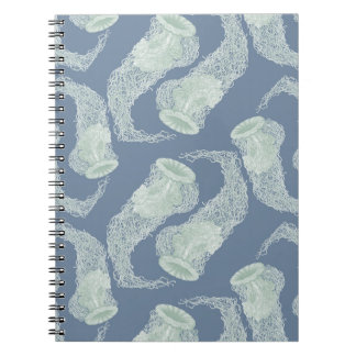 Vintage Blue Jellyfish Notebook