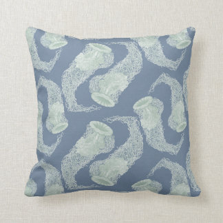 Vintage Blue Jellyfish Throw Cushion