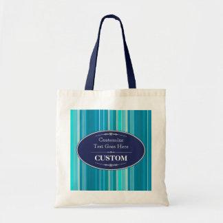 Vintage Blue Label Teal Stripes Budget Tote Bag