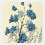 Vintage Blue Larkspur Flower Square Sticker