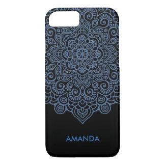 Vintage blue metallic Intricate Lace Mandala white iPhone 8/7 Case