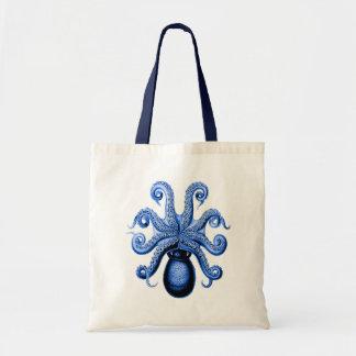 Vintage Blue Octopus 1 Underside Tote Bag