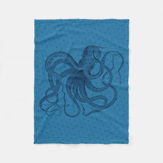 Vintage Blue Octopus & Dots Pattern Fleece Blanket
