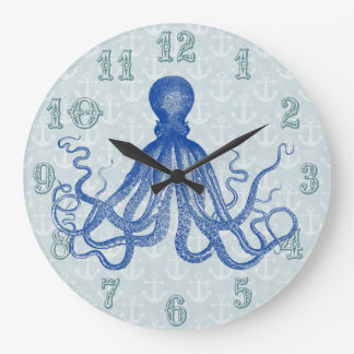 Vintage Blue Octopus with Anchors Large Clock