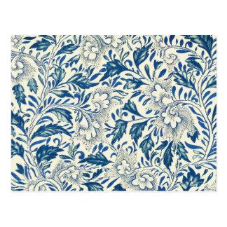 Vintage Blue Oriental Decor FloralPattern Postcard
