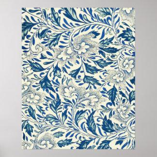 Vintage Blue Oriental Decor FloralPattern Poster