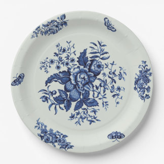 Vintage blue paper plate 9 inch paper plate