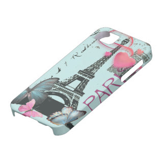 vintage blue Paris EffielTower Butterfly iphone5 Case For The iPhone 5
