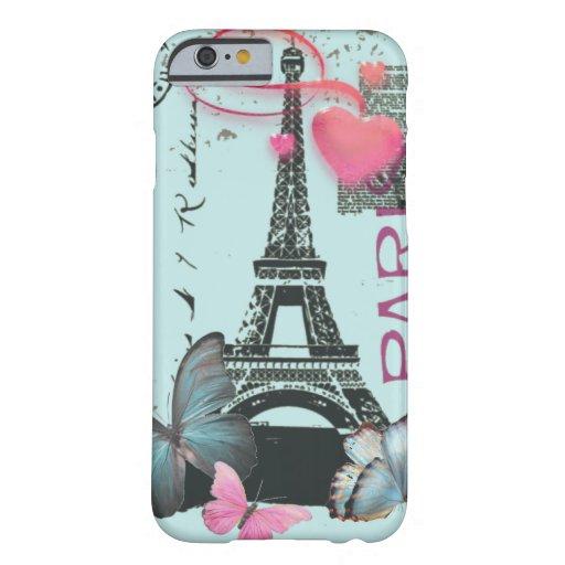 vintage blue Paris EffielTower Butterfly iPhone 6  iPhone 6 Case