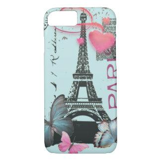 vintage blue Paris EffielTower Butterfly iPhone 7  iPhone 7 Case