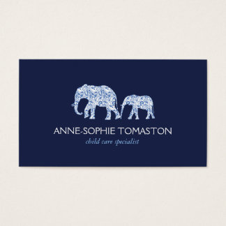Vintage Blue Patterned Elephants Child Care Business Card