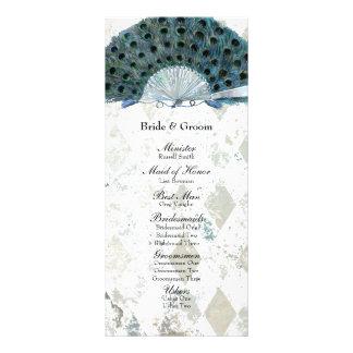Vintage Blue Peacock Fan Wedding Program Rack Card
