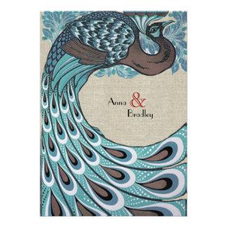 Vintage Blue Peacock Linen Wedding Invitation