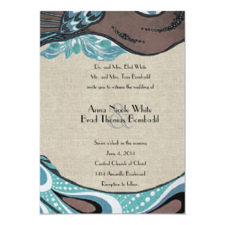 Vintage Blue Peacock Linen Wedding Invitation
