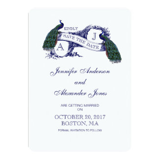 Vintage Blue Peacock Save the Date Card 13 Cm X 18 Cm Invitation Card