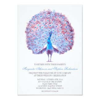 vintage blue peacock wedding invitation