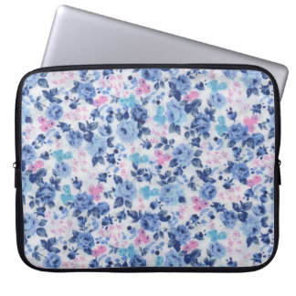 Vintage Blue Pink Cute Roses Floral Pattern Laptop Sleeve