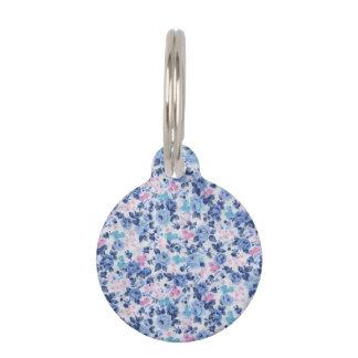 Vintage Blue Pink Cute Roses Floral Pattern Pet ID Tags