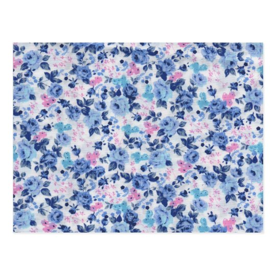 Vintage Blue Pink Cute Roses Floral Pattern Postcard
