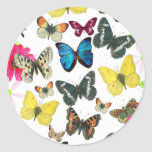 Vintage Blue Red Yellow Colourful Butterflies Round Sticker