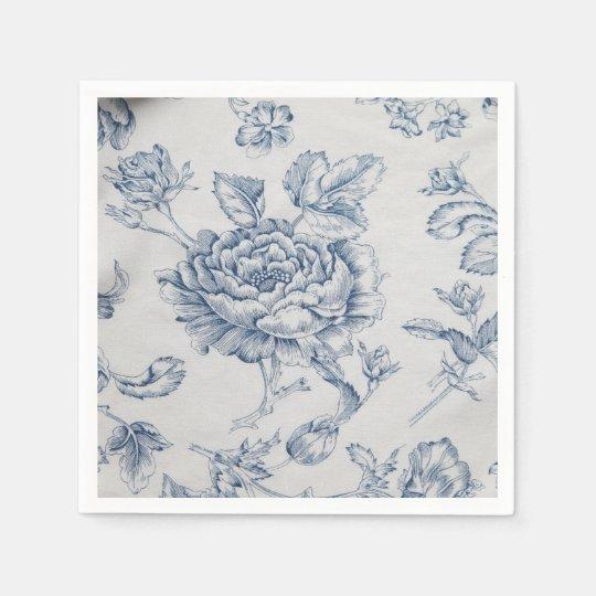 Vintage blue rose disposable serviettes