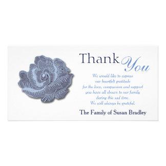 Vintage Blue Rose - Sympathy Thank You Photo Card