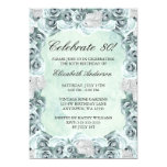 Vintage Blue Roses and Feather 80th Birthday Party 13 Cm X 18 Cm Invitation Card
