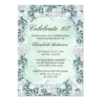 Vintage Blue Roses and Feather 80th Birthday Party Custom Announcements
