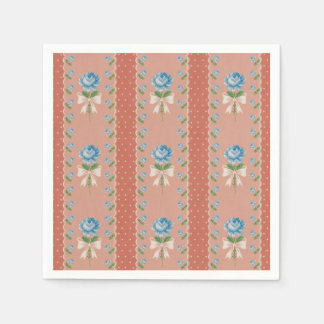 Vintage Blue Roses Coral Dots Wallpaper Pattern Disposable Napkin