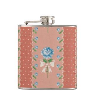 Vintage Blue Roses Coral Dots Wallpaper Pattern Hip Flask