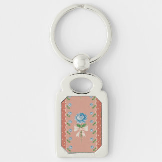 Vintage Blue Roses Coral Dots Wallpaper Pattern Key Ring